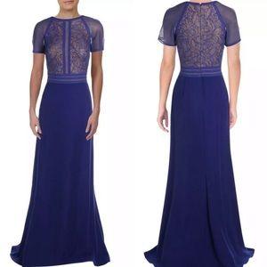 Tadashi Shoji Lace Crepe ALine Gown Formal Dress